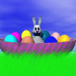 Easter bunny with eggs — Stock Photo