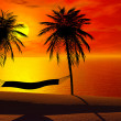 A hammock in sunset — Stock Photo