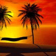 Stock Photo: A hammock in sunset