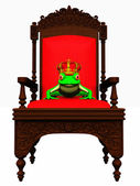 Frog prince in chair — Stock Photo