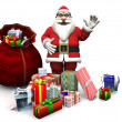 Cartoon Santa with Christmas gifts. — Stock Photo