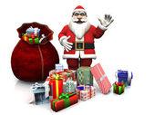 Cartoon Santa with Christmas gifts. — Stock Photo