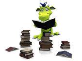 Söta tecknade monster sitter på en hög med böcker. — Stockfoto
