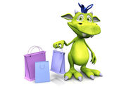 Cute cartoon monster holding shopping bag. — Stock Photo