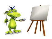 Cute cartoon monster painting. — Stock Photo