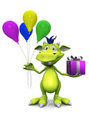 Cute cartoon monster holding balloons and a gift. — Stock Photo