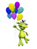 Cute cartoon monster holding balloons. — Stock Photo