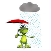 Cute cartoon monster in the rain. — Stock Photo