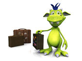 Cute cartoon monster with travel suitcase. — Stock Photo
