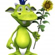 Cute cartoon monster holding a sunflower. - Stock Photo