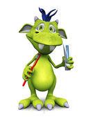 Niedliche cartoon monster halten, zahnbürste und zahnpasta. — Stockfoto
