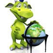 Cute cartoon monster with terrestrial globe. — Stock Photo