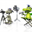 Cute cartoon monsters filming. — Stock Photo