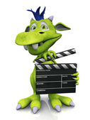 Cute cartoon monster holding a film clapboard. — Stock Photo
