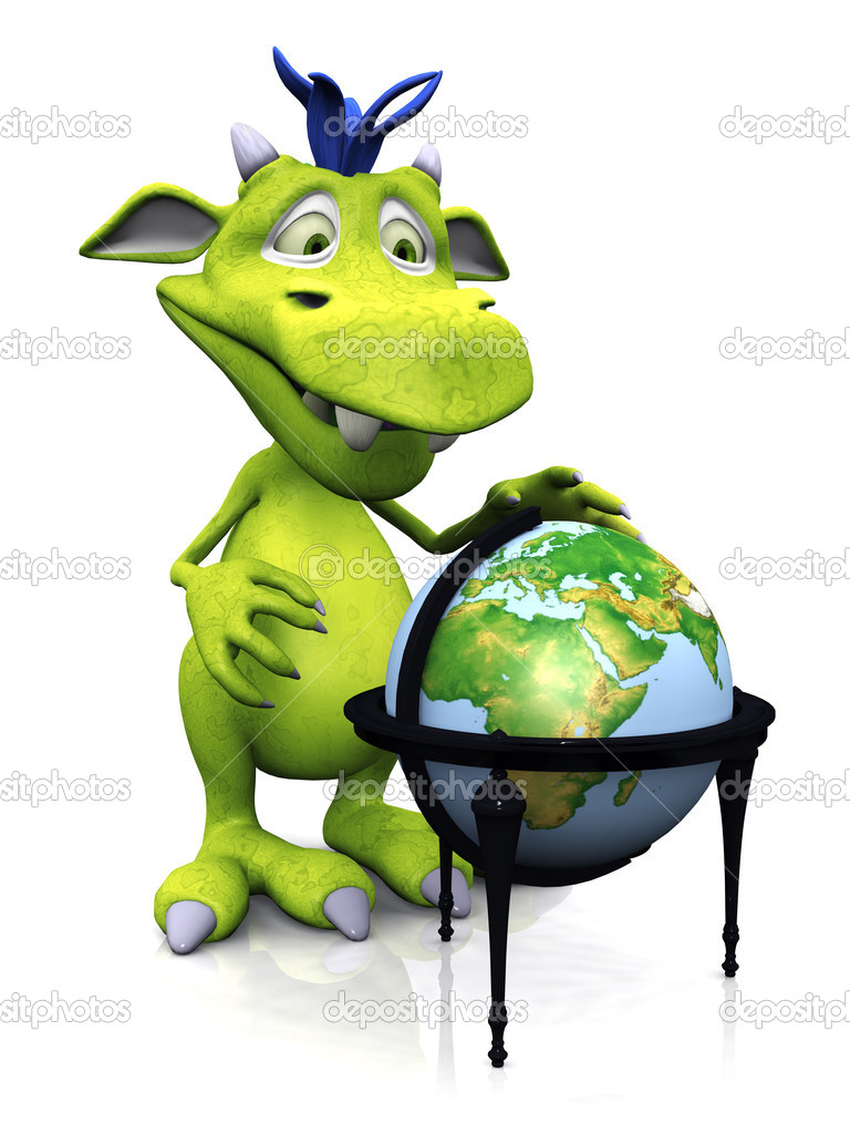 A cute friendly cartoon monster standing in front of a terrestrial globe. The monster is green with blue hair. White background. — Stock Photo #5102718