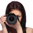 Woman with DSLR isolated — Stock Photo