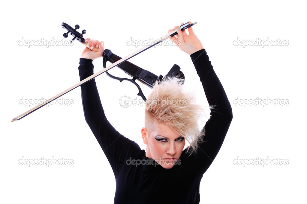 Attractive violinist playing the electric violin. Studio, white background — Stock Photo #5172335