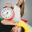 Happy couple waking up early — Stock Photo