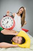 Happy couple waking up early — Stock Photo