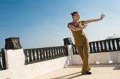 žena cvičí jógu tanec — Stock fotografie