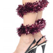Woman legs high heels xmas decorations — Stock Photo #4349961