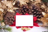 Christmas decorations with blank card — Foto de Stock