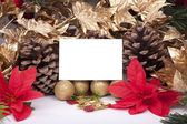 Christmas decorations with blank card — Stock Photo