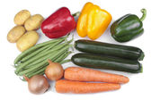 Mixed vegetables over white — Stock Photo