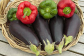 Mixed vegetables on basket — Stock Photo