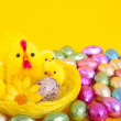 Stock Photo: Easter eggs and chicks