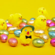 Easter eggs and chicks — Stock Photo #5032526