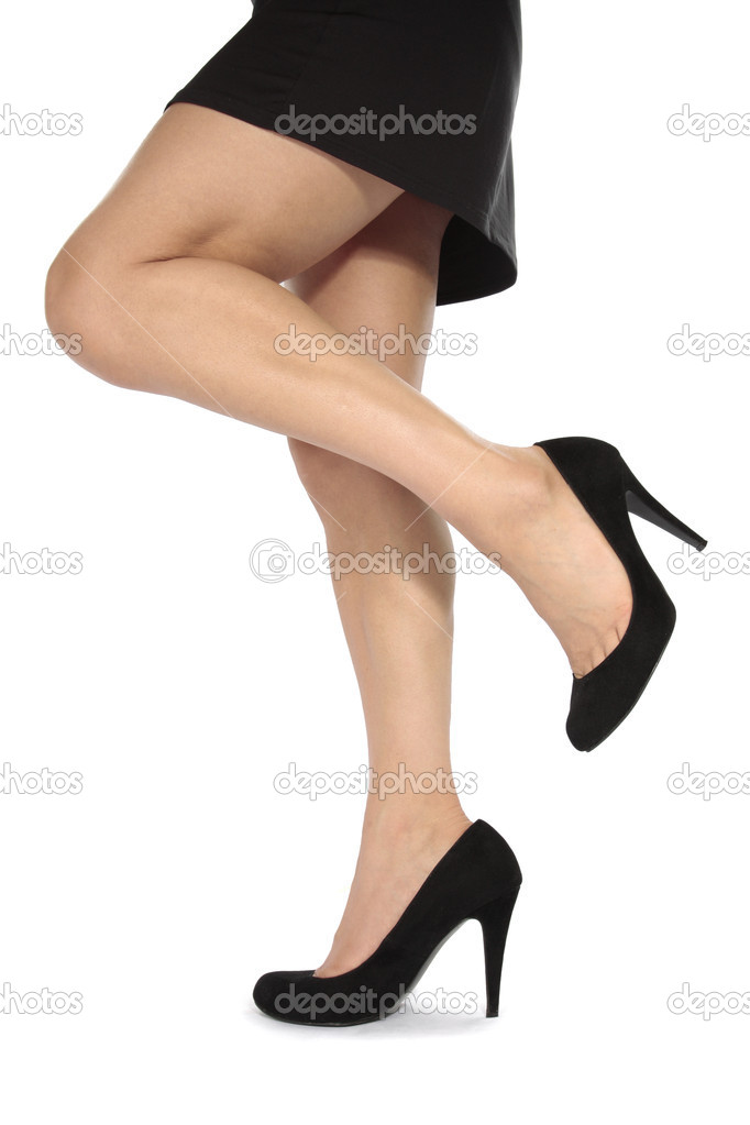 lady in a black dress and stelletto heels