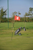 Flag on golf course. — 图库照片