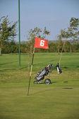 Vlag op golfbaan. — Stockfoto