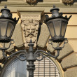 Lantern on the old facade — Stock Photo