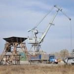 Crane, port, ship — Stock Photo