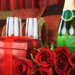 Red roses and Wine — Stock Photo