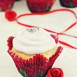 Valentine's Day Cupcake and Engagement Ring — Stock Photo