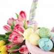 Easter Basket and Tulips - Stock Photo