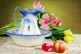 Pitcher and Tulips — Stock Photo