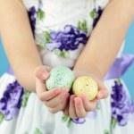 drží velikonoční vajíčka — Stock fotografie #5206722