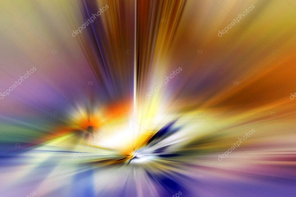 Colorful abstract background that looks like explosion in blue, yellow, orange and purple tones.  Stock Photo #5022255
