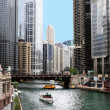Chicago river and cityscape - Stock Photo