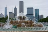 Chicago city park and cityscape — Stock Photo