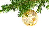 Christmas Tree Holiday Ornament Hanging from a Evergreen Branch Isolated — Stock Photo