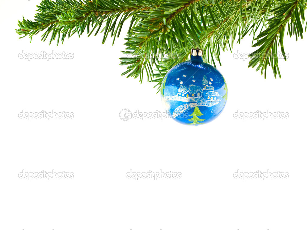 Christmas Tree Holiday Ornament Hanging from a Evergreen Branch Isolated — Stock Photo #3970067