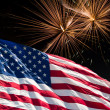 The American Flag and White Fireworks from Independence Day — Stockfoto