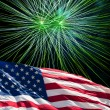 The American Flag and White Fireworks from Independence Day — Stock Photo