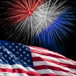 Stockfoto: The American Flag and White Fireworks from Independence Day