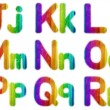 Letters J K L M N O P Q R with a Wooden Rainbow Background — Stock Photo